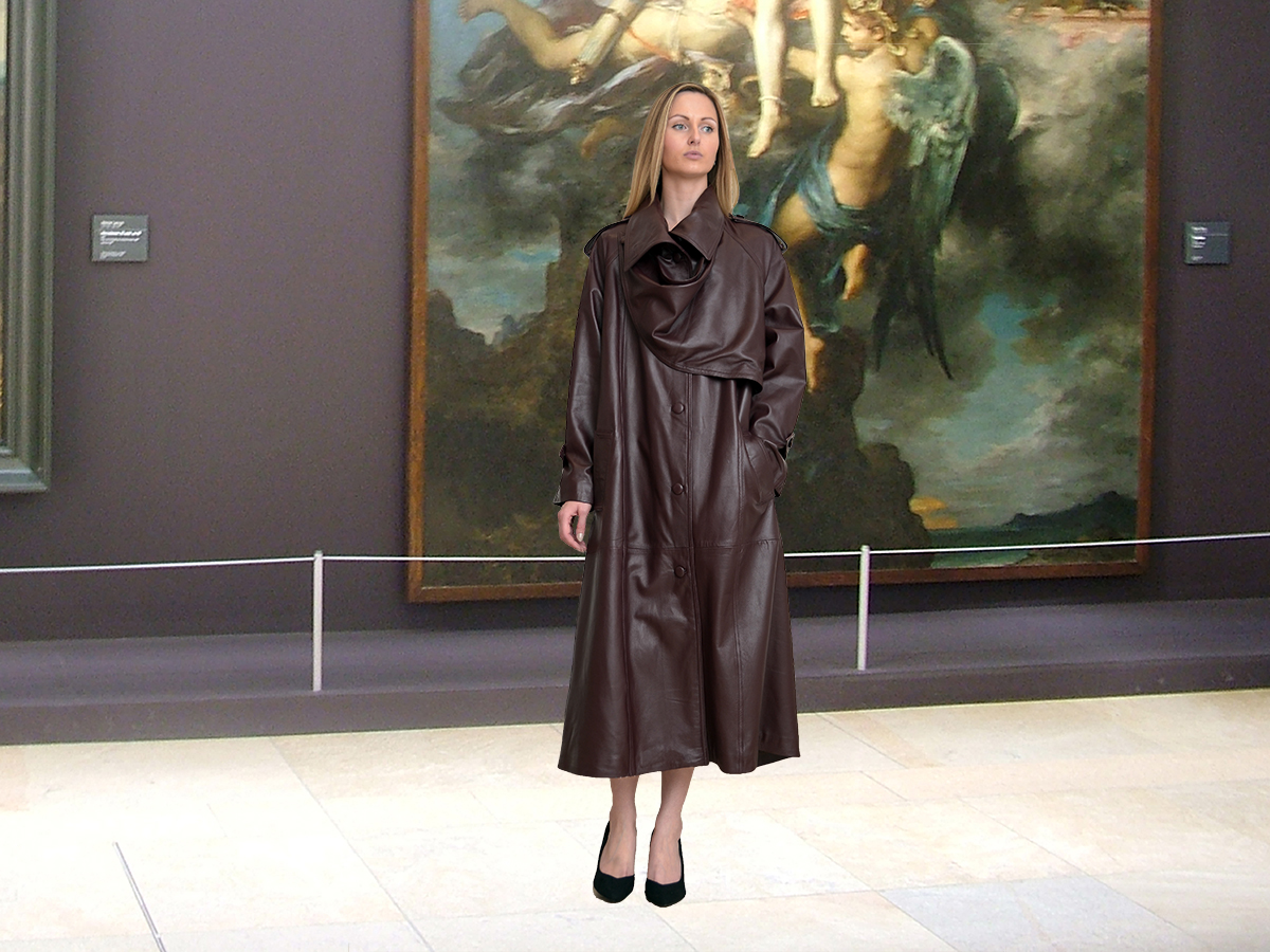 Higgs Leathers   Charlotte (ladies Designer Brown Leather Trench coats) World's Finest Leather Trench Coats?  And how!